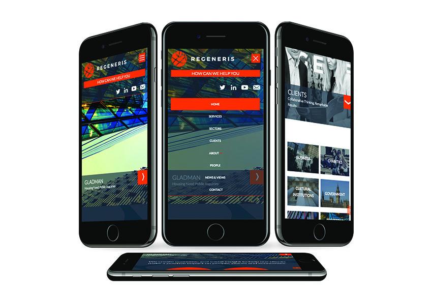 Regeneris mobile responsive webdesign