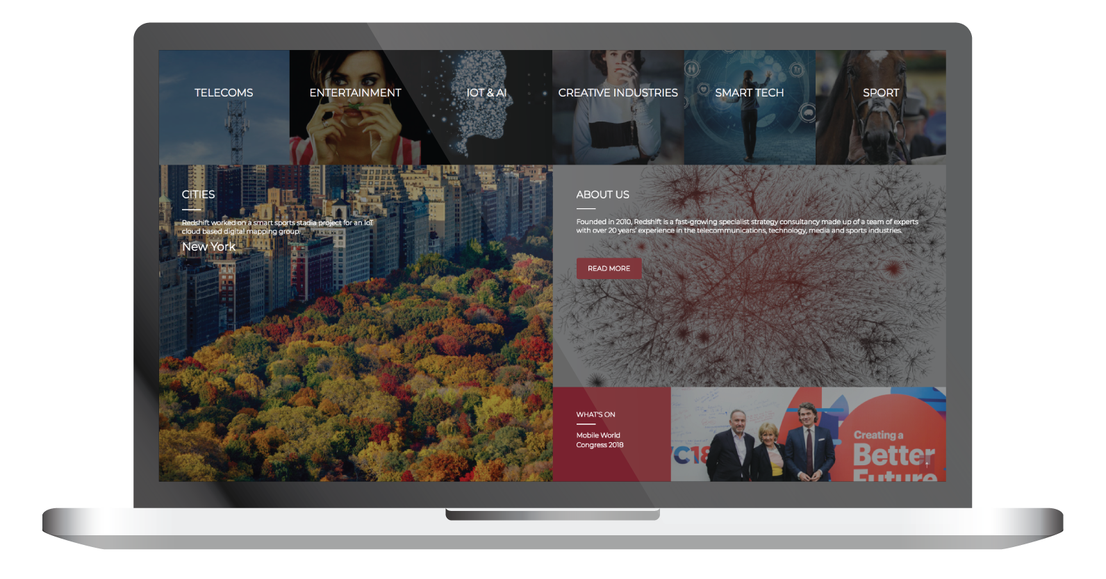 redshift consultancy home page laptop