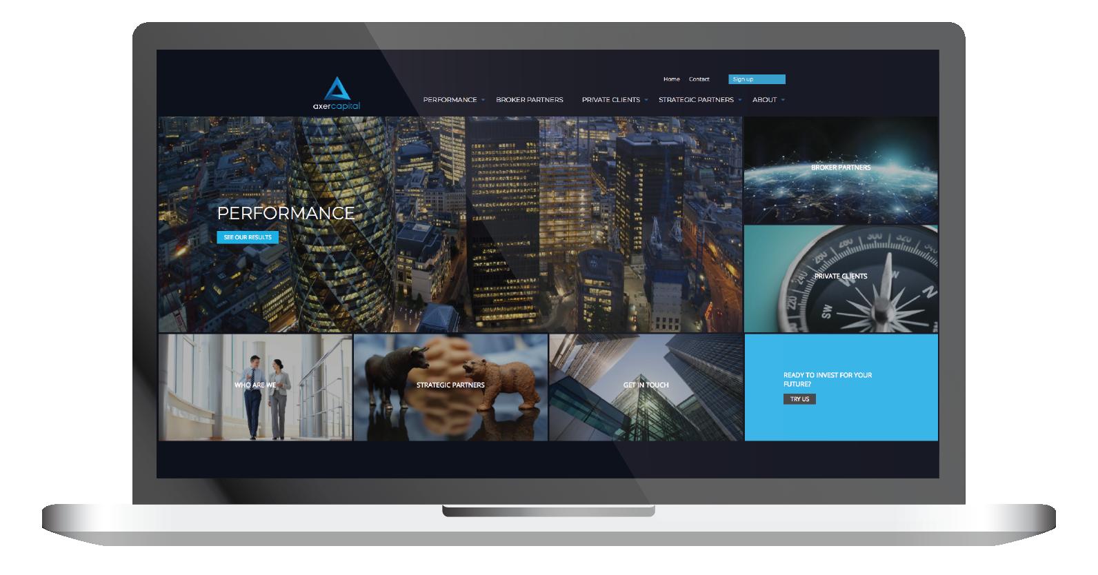 axer capital homepage website laptop