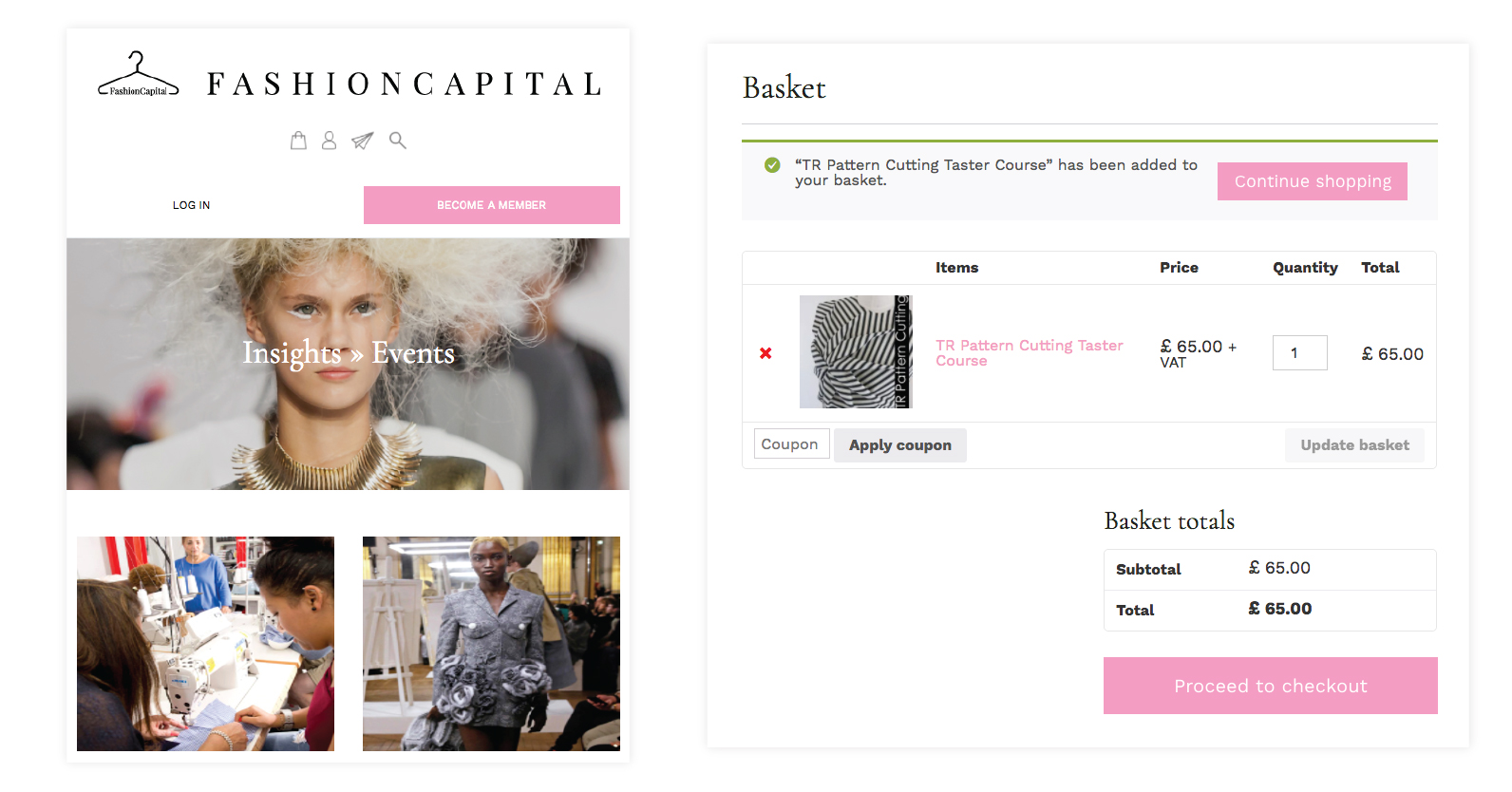 ecommerce page fashion capital