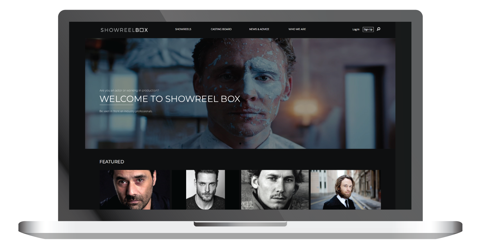 showreelbox home page laptop