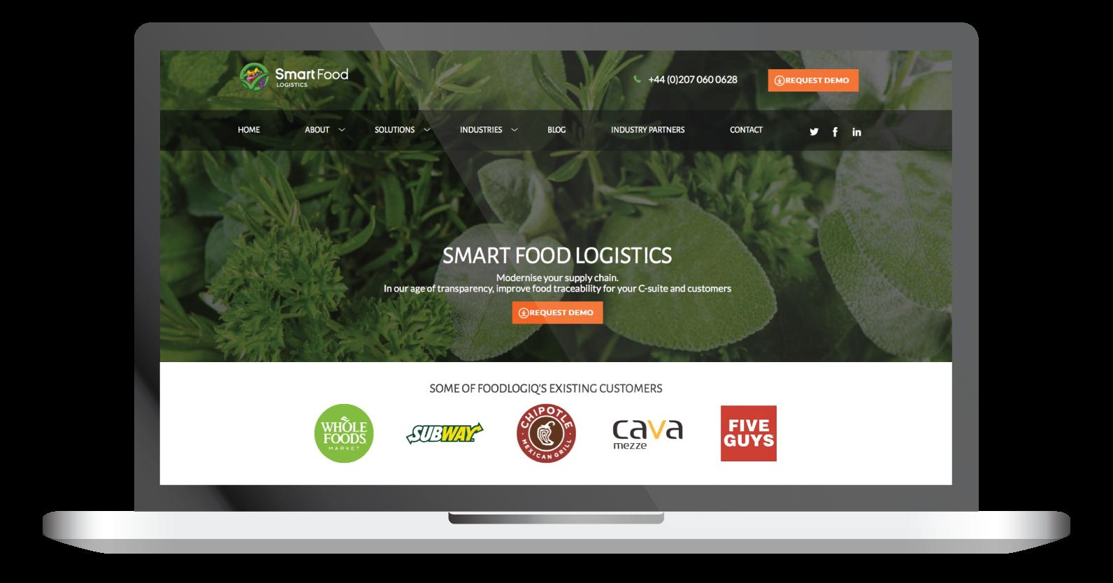 smartfood logistics laptop home page